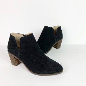 Lucky Brand | black suede cutout ankle booties 8.5